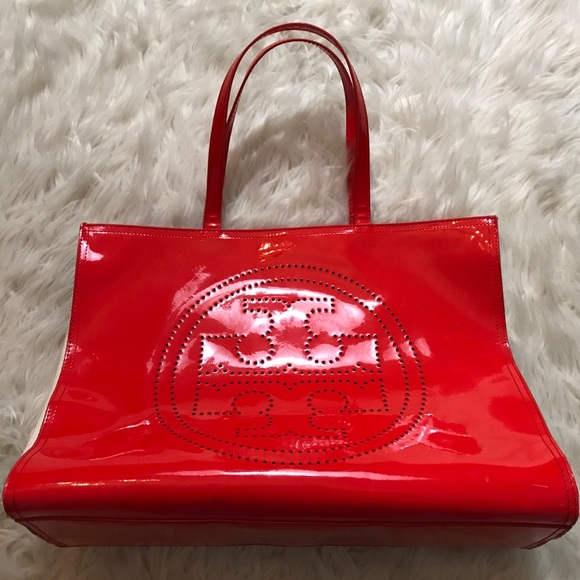 42e6d73b14f Tory Burch Red Patent Leather   Canvas Tote Bag. M 5a7279d836b9de113ea7ba60